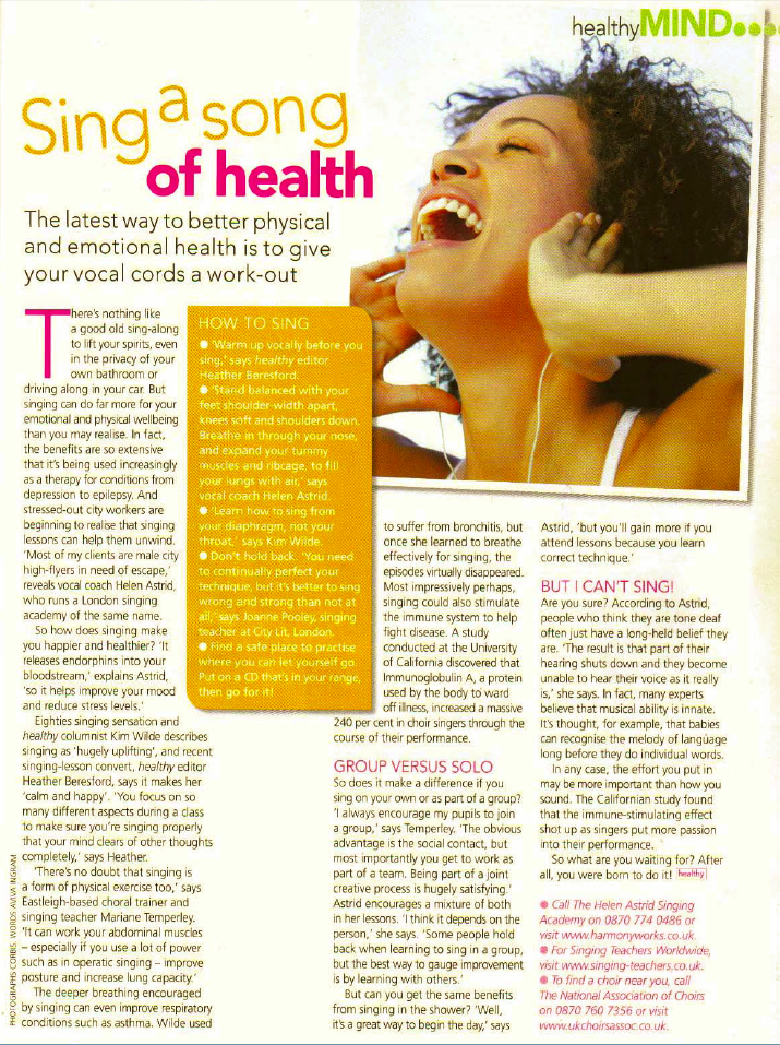 Healthy Magazine Sing a song of health scanned article